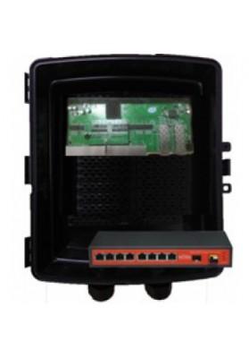 SWITCH 8 PORTE GIGABIT + 2 SFP Reverse POE con box IP67